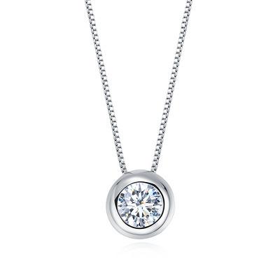 圆心 18分白18K金钻石吊坠
