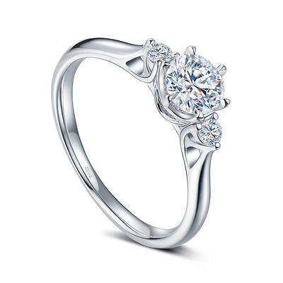 三世之约 24分白18K金钻石女戒