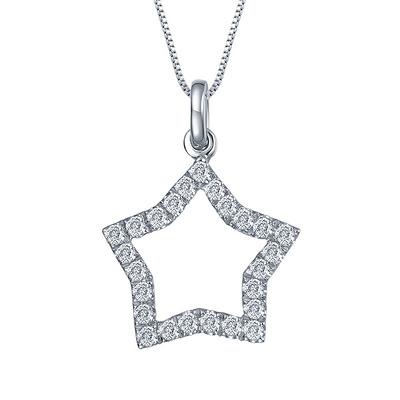 星空 12分白18K金钻石吊坠