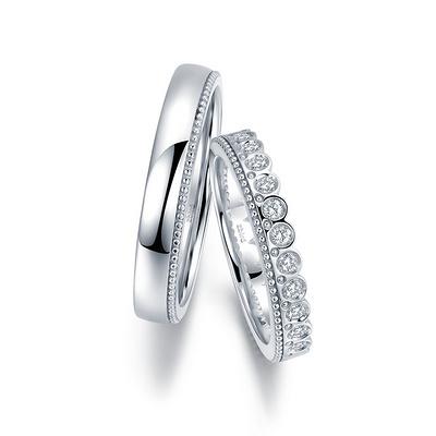 甜心公主 白18K金钻石对戒