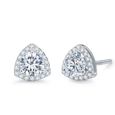三角梅 60分白18K金钻石耳钉