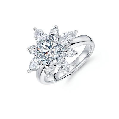 北极光追光系列星眸钻石戒指 33分白18K金钻石女戒