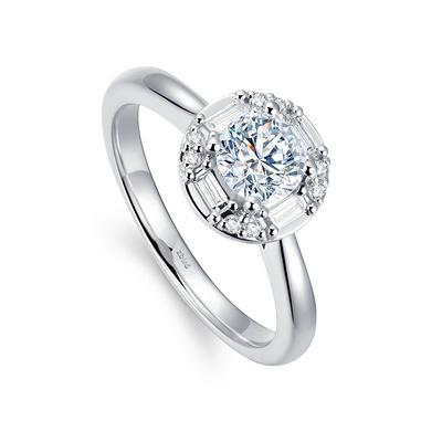 北极光追光系列光轮钻石戒指 31分白18K金钻石女戒