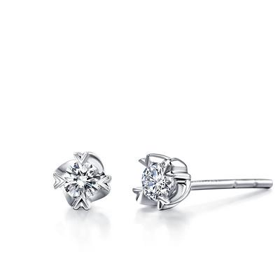 美丽年华 18分白18K金钻石耳钉