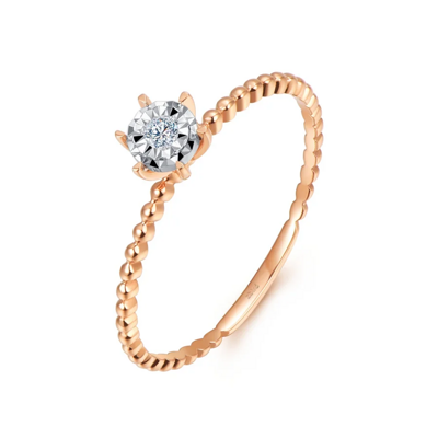 小清新钻石戒指 2分彩18K金钻石女戒