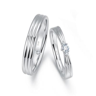 优雅之翼(对戒男) 白18K金钻石对戒