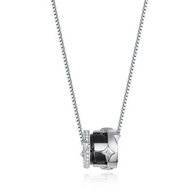 星轮 3分白18K金钻石吊坠