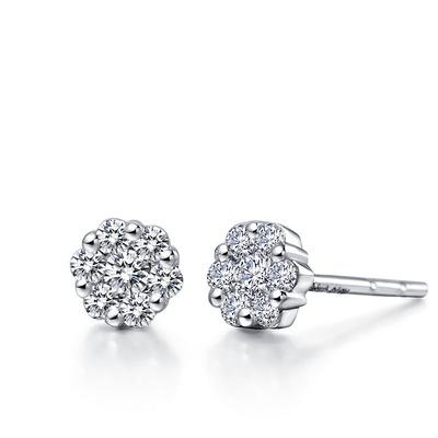 六重幸福 7分白18K金钻石耳钉