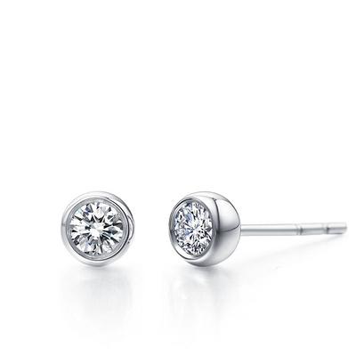 圆心(耳钉) 19分白18K金钻石耳钉